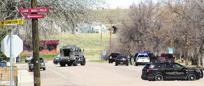 Law enforcement authorities have been involved in a standoff in Shelby since Monday morning.