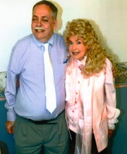 "Hendersonian Bill Sullivan poses with Donna Douglas, who portrayed blonde beauty Elly May Clampett throughout the nine-year run of ""The Beverly Hillbillies,"" during her visit to Henderson in 2014."