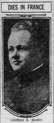 Lt. George Mason died of pneumonia in Bordeaux, France. He raced in the 1914 Indy 500.