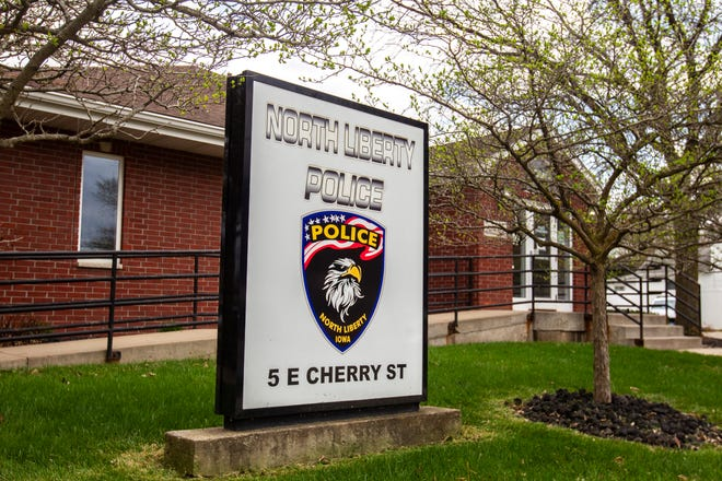 North Liberty Police Department is pictured, Monday, April 22, 2019, on the corner of Cherry and Front Streets at 5 East Cherry Street in North Liberty, Iowa.