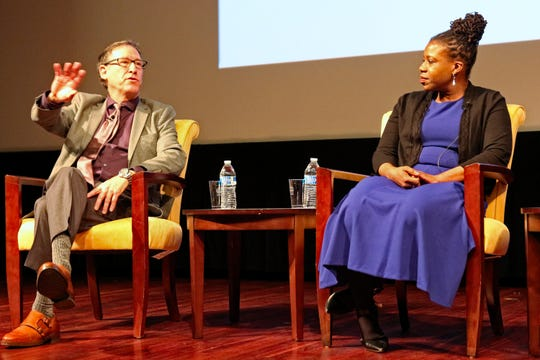 Author Osha Gray Davidson speaks on a panel with Lottie Joiner, executive director of 'The Crisis' magazine of the NAACP, in Washington, D.C., on April 1, 2019.