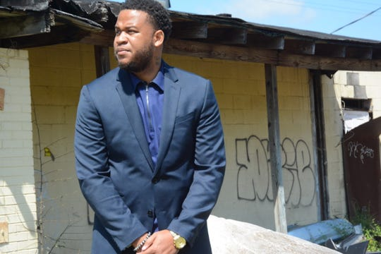 """""""In my neighborhood, if you made it past 18 you were blessed,"""" says educator, author and motivational speaker Tommie Mabry, 31, standing beneath an overpass in the Midtown Jackson community where he became street smart and a juvenile offender at the age of 12."""