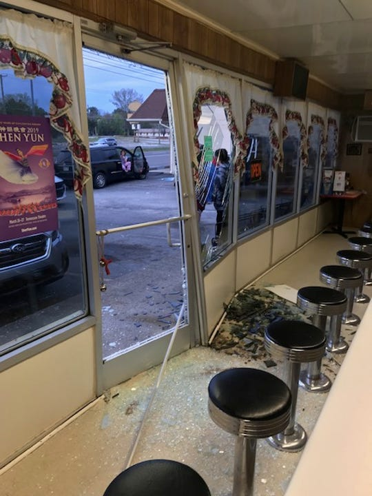 Glass was everywhere immediately after a car slammed into the front of Scottie's restaurant March 29.