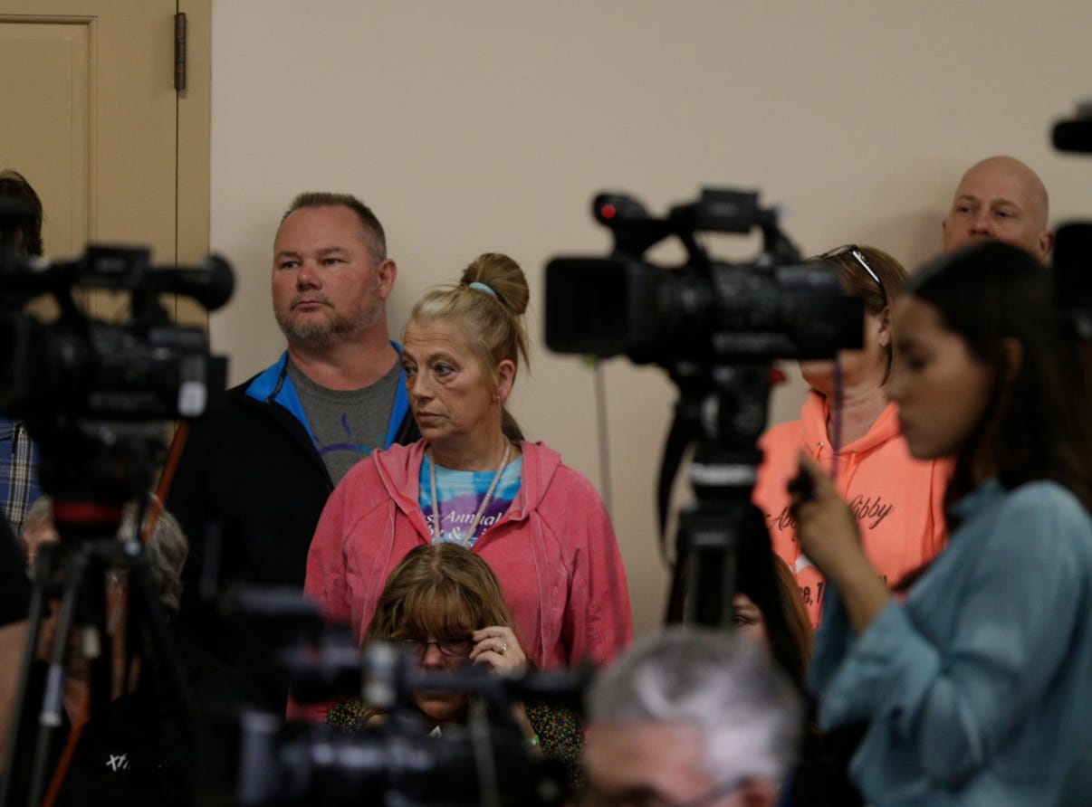 Mike and Becky Patty, Libby German's grandparents, during a press conference on an update on the Delphi murders investigation, Monday, April 22, 2019 at the Canal Center in Delphi. Abby Williams and Libby German, both Delphi eighth-graders, were murdered while hiking a popular community trail near Delphi on Feb. 13, 2017.