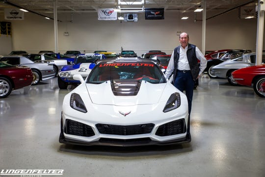 Ken Lingenfelter pictured with cars from his collection.