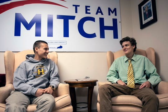 Davis Zimmerman (left) and Sawyer Haming share strategies for winning high school elections as the two students work as interns at the Jefferson County Republican Party headquarters. 4/10/19