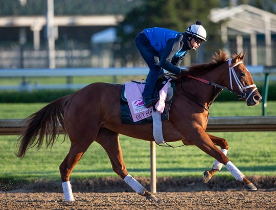 Kentucky Oaks hopeful Out for a Spin trains at Churchill Downs. April 22, 2019