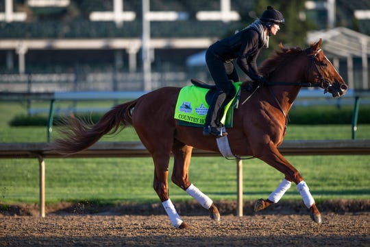 Kentucky Derby hopeful Country House trains at Churchill Downs. April 22, 2019.