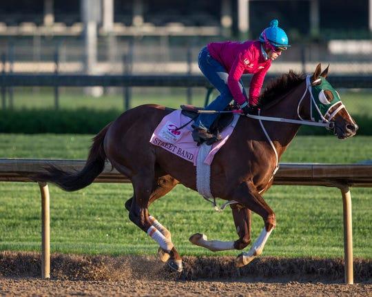 Kentucky Oaks hopeful Street Band trains at Churchill Downs. April 22, 2019.