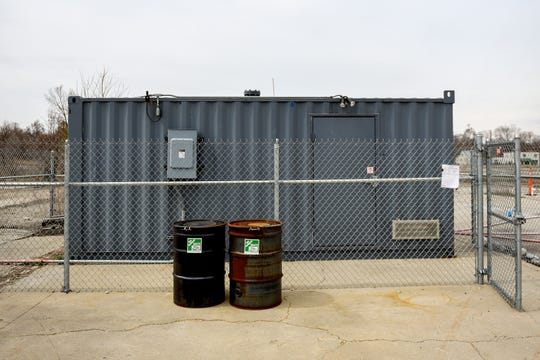 The building holding the pilot propane biosparge system used to clean up 1,2 dioxane from underground photographed on Thursday, April 11, 2019, at the RACER Lansing Plant 2.