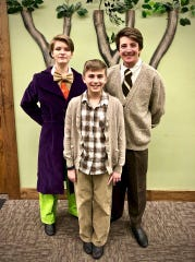 "Wonka, Charlie and Grandpa Joe (played by Maggie Heili, Ian Onesti and Max Schoepp in Treehouse Theater's production of ""Willy Wonka Jr."""