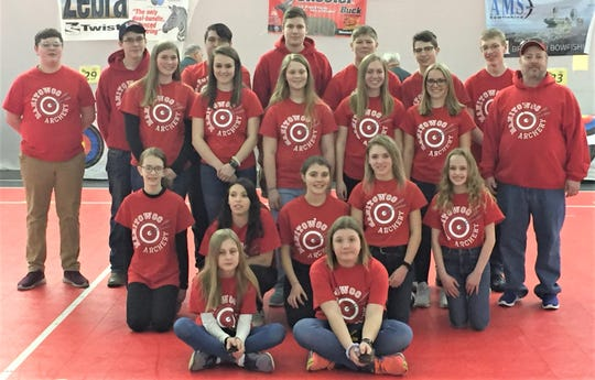 Manitowoc Public School District's NASP State Archery Tournament participants included, back row standing, from left: Bryce Walsh, Dawson Boettcher, JT Shield, Jacob Tienor, Caden Sprang, Alexander Lemberger and Martin Holdorf; second row standing, from left: Adrianna Sprang, Kirsten Boettcher, Milana Meisner, Courtney Braun, Halle Braun and Coach Koch; third row, kneeling, from left: Chloe Peltonen, Mariah Plagemann, Riley Thomas, Rhyce Thomas and Kira Dewitt; and front row, sitting, from left: Violet Chase and Gianna Behnke.