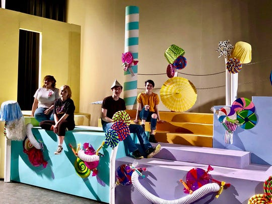 "Sneak peak at the Chocolate Factory at UW-Green Bay, Manitowoc Campus, theater, for Treehouse Theater's production of ""Willy Wonka Jr."""