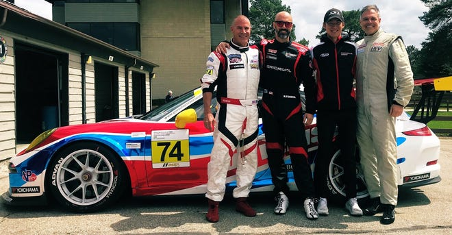The TPC Racing team, from left, Thomas Kerr, Robert Ferrio, Trenton Estep and Vernon McClure race in the Porche GT3 Cup Series.