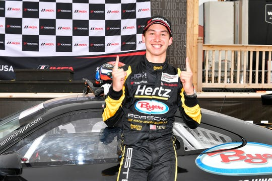 Trenton Estep celebrates in Victory Lane after winning last season's Porsche GT3 Cup as an 18-year old.