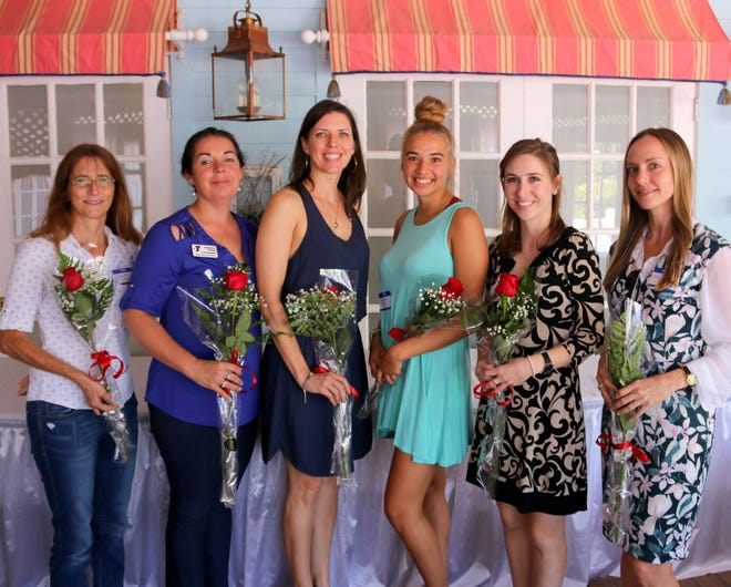 AAUW scholarship recipients, from left, Laura Raymond, Stephanie Pepper, Andrea Leiner, Josephine Torres, Catherine Gorman and Rosemarie Fusco.