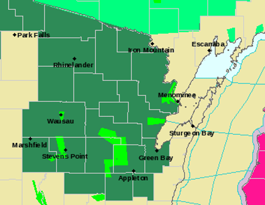 Areas shaded in dark green are under a flood watch beginning at 1 p.m. on Monday. Areas in light green represent flood warnings where flooding is occurring or is forecast to occur.