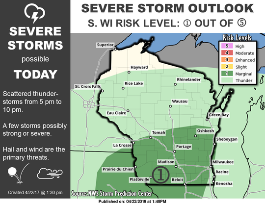 Severe storms are possible across much of southern Wisconsin late this afternoon into the early evening.