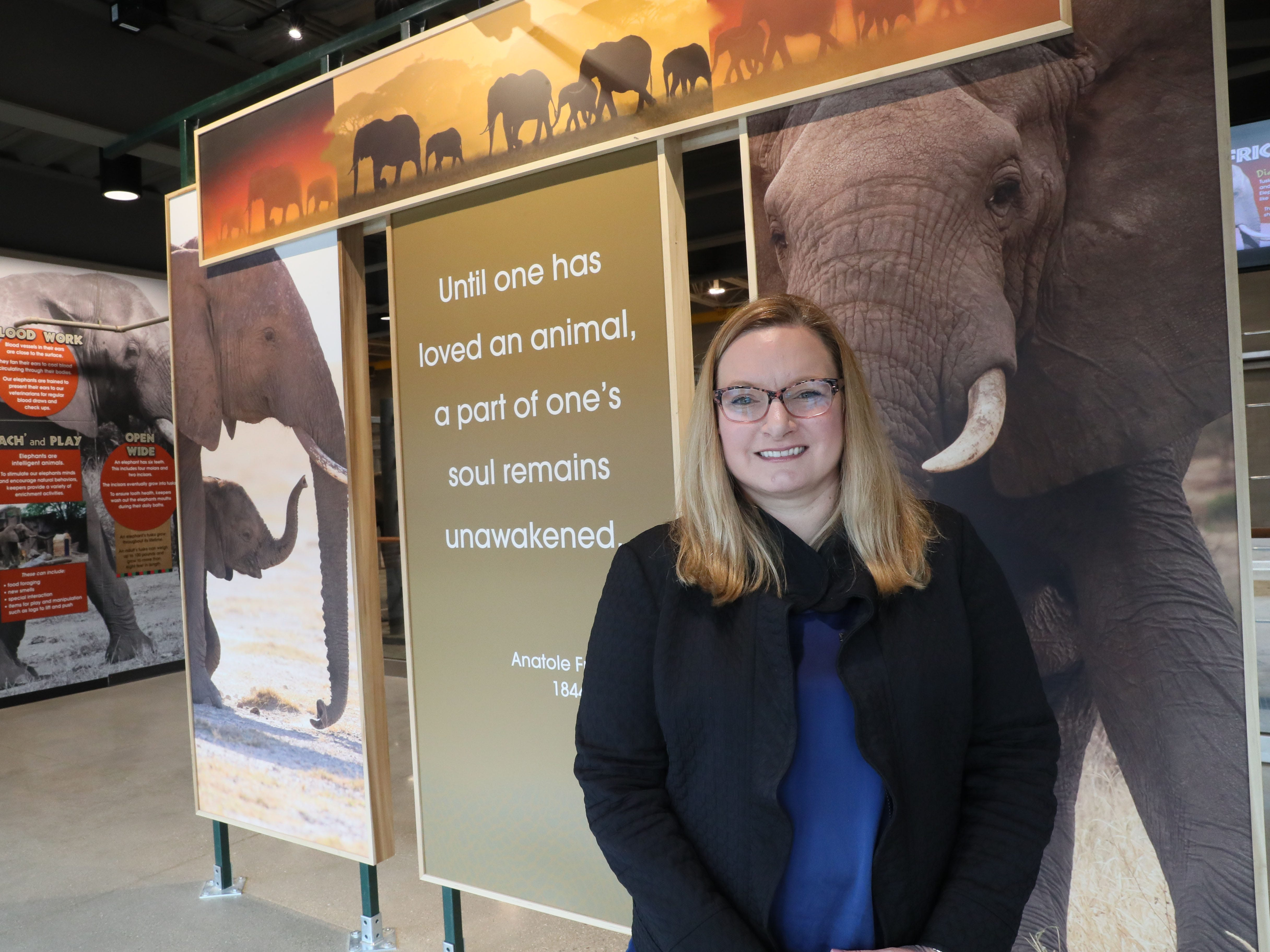 Jodi Gibson, president of the Zoological Society, the nonprofit that partnered 50-50 in funding efforts with the county for the exhibit.