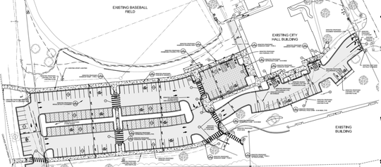 This construction plan shows the design for the new parking lot behind Mequon City Hall.