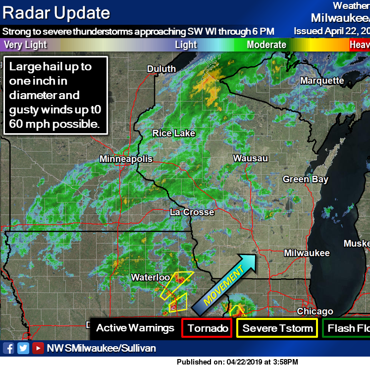 Strong storms moving into southern Wisconsin; more flooding possible in parts of state