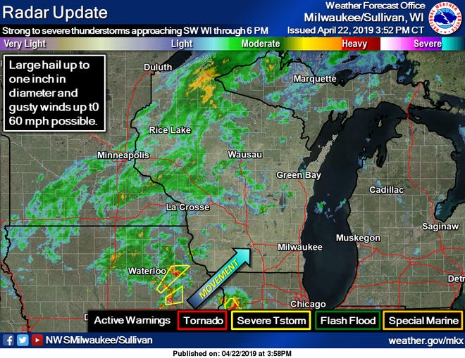 Strong thunderstorms are moving into southwest Wisconsin, according to the National Weather Service.