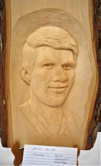 This work by Sandy Smith is one of this month's featured carvings of the North Arkansas Woodcarver's Club. The NAWC's Thursday meetings have featured various types of carvings on display, including relief, wood burning, caricature and chain saw carvings. The woodcarvers meet on Thursday mornings at the Mountain Home VFW Post 3246, just west of the fire station on the corner of Seventh and Gray streets. Anyone interested in woodcarving can stop by the VFW or visit the Baxter County Fair Grounds in May.