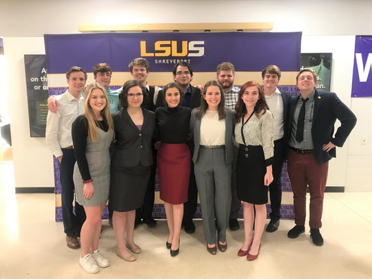 Louisiana Tech Debate Team members are (front, from left) Madison Dunn, Katie McKenzie, Maura Yeagle, Rachel Madore, Leah Hanna, (back, from left) Nate Foster, Brye Edwards, Charlie McBride, Steve Garcia, Kendrick Kruskie, Seth McReynolds, and Cody Kitchens.