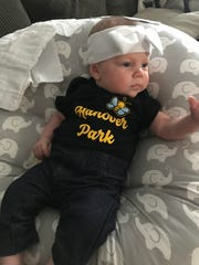 The Hanover Park football and girls soccer booster clubs made sure Maddie Fulton, who was born Jan. 11, had plenty of team gear.