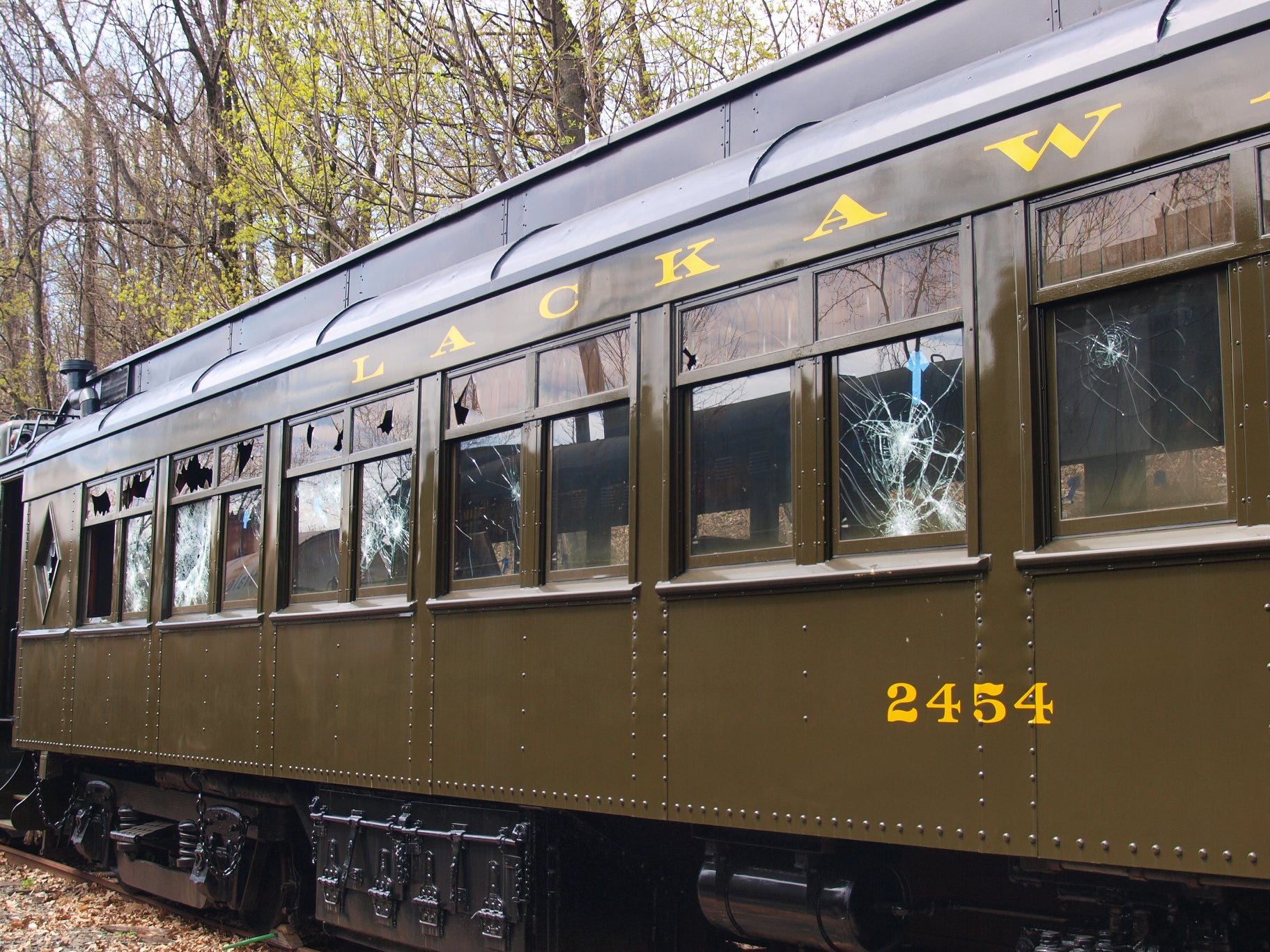 Vandals caused major damage to historic rail cars, owned by the Whippany Railway Museum at the  Boonton Rail Yard.