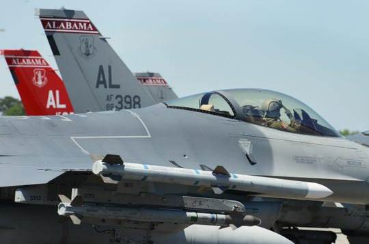 A U.S. Air Force F-16 Falcons assigned to the 100th Fighter Squadron, 187th Fighter Wing, Alabama Air National Guard prepares for take off during an afternoon training flight at the Air Dominance Center at the Savannah Air National Guard Base, Savannah, Georgia, April 16, 2019.