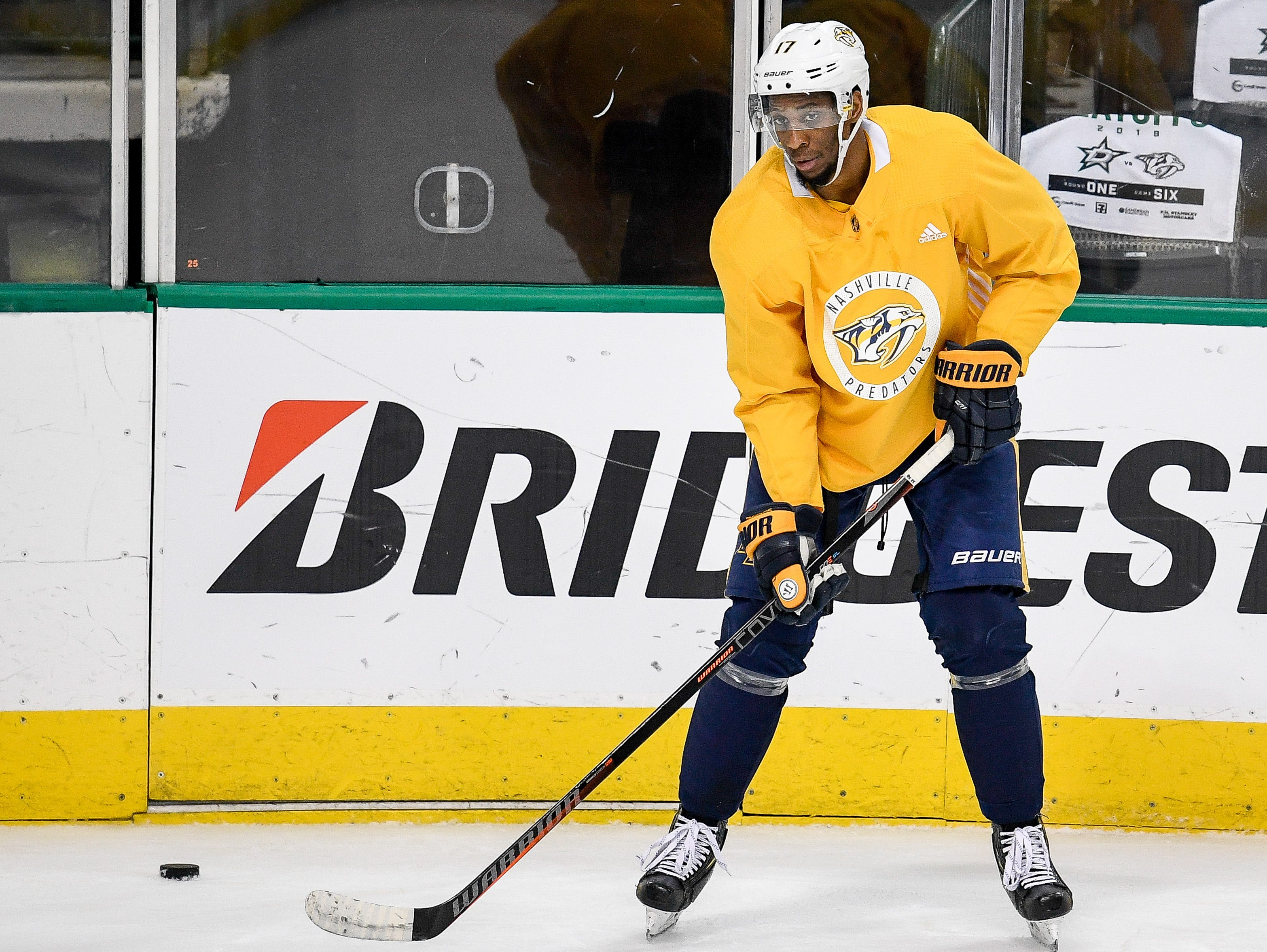 Nashville Predators right wing Wayne Simmonds (17) runs drills during practice before the divisional semifinal game against the Dallas Stars at the American Airlines Center in Dallas, Texas, Monday, April 22, 2019.