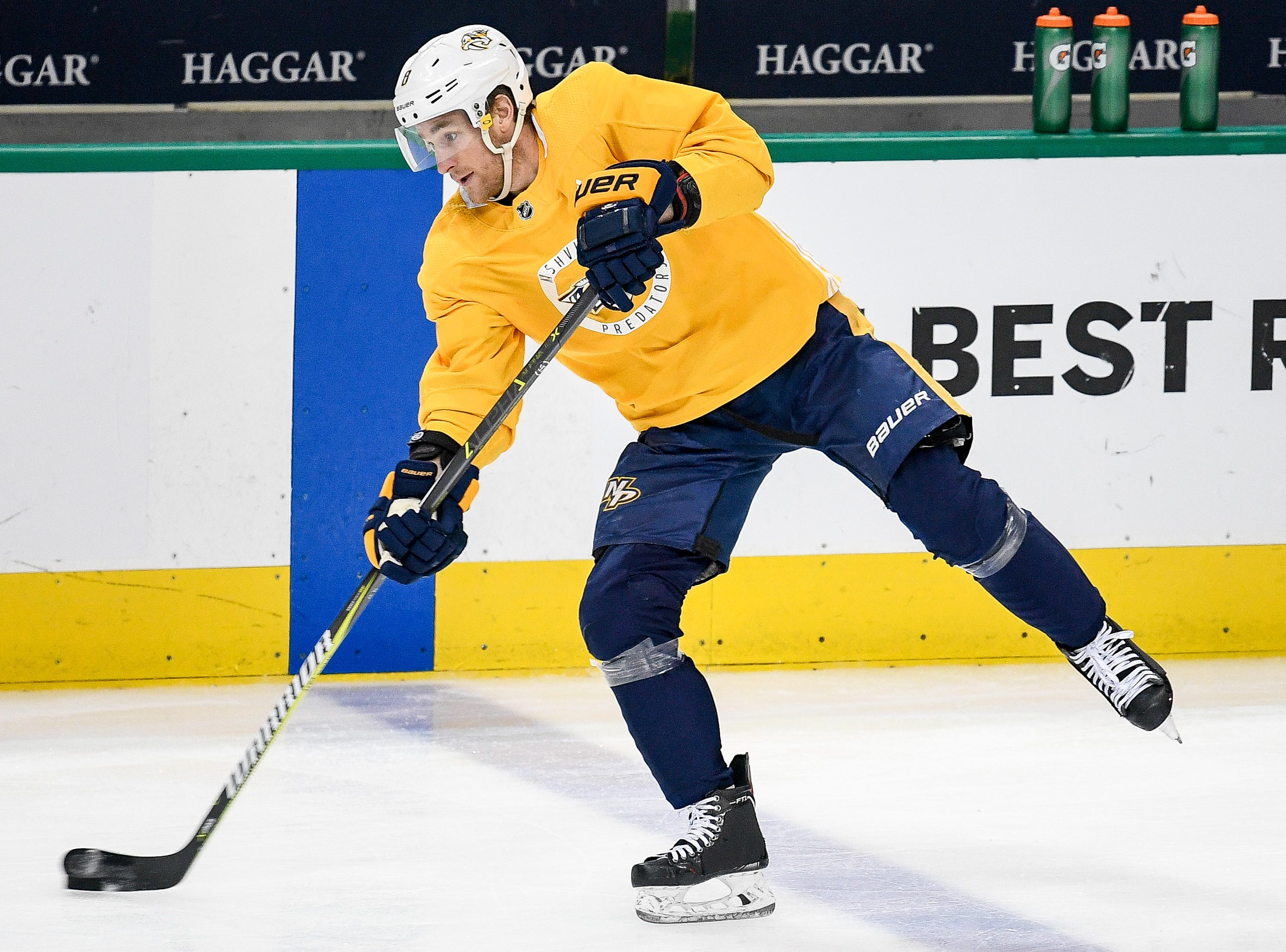 Nashville Predators center Kyle Turris (8) shoots during practice before the divisional semifinal game against the Dallas Stars at the American Airlines Center in Dallas, Texas, Monday, April 22, 2019.