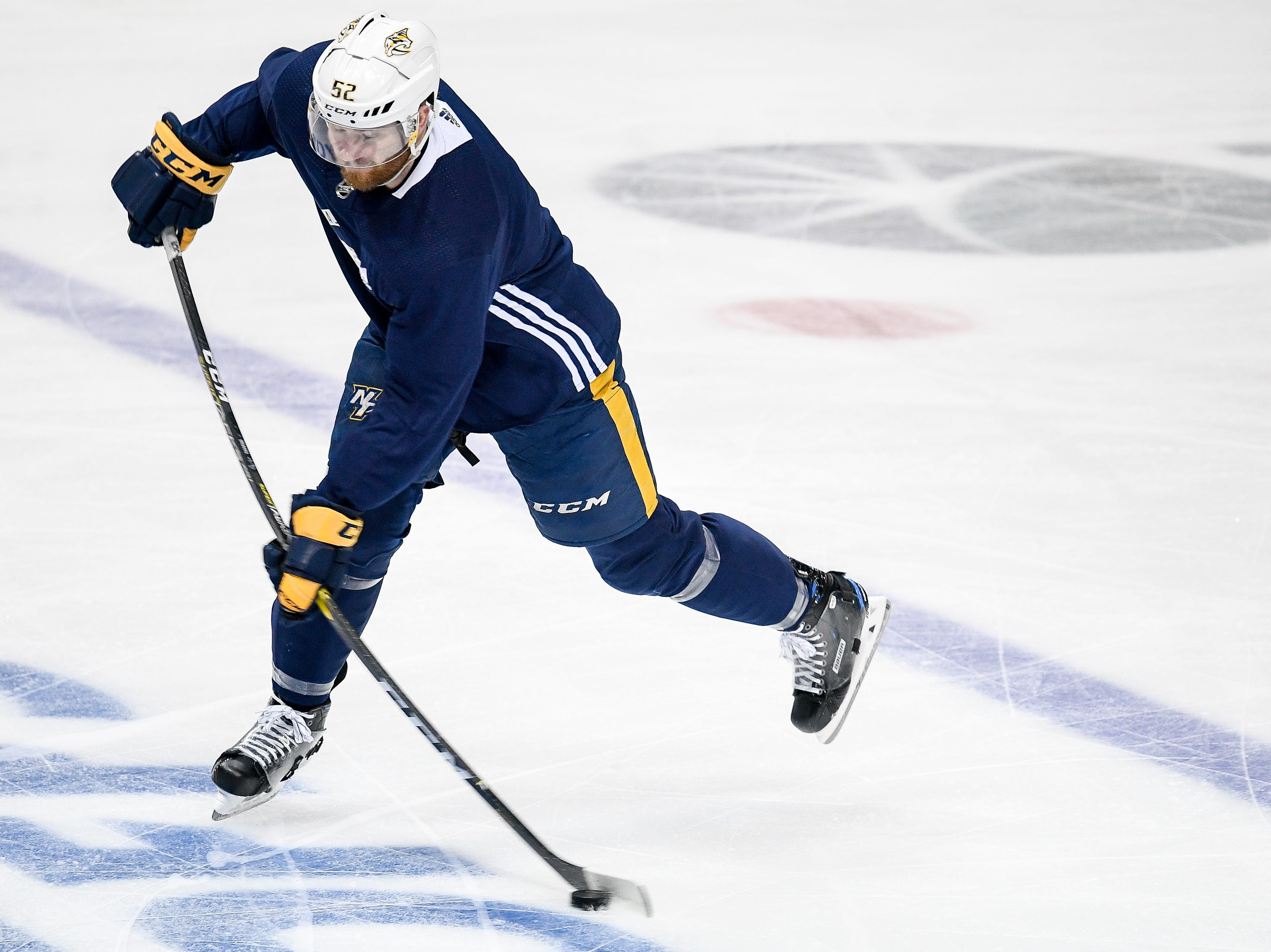 Nashville Predators defenseman Matt Irwin (52) shoots during practice before the divisional semifinal game against the Dallas Stars at the American Airlines Center in Dallas, Texas, Monday, April 22, 2019.