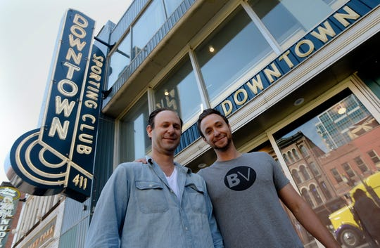 Nashville restaurateurs Ben, left, and Max Goldberg outside their new Downtown Sporting Club on Monday, April 22, 2019 in Nashville, Tenn. The massive Downtown Sporting Club is on Lower Broadway and opening this week before the NFL Draft. It will include a restaurant, coffee shop, boutique lodging and an ax-throwing area.