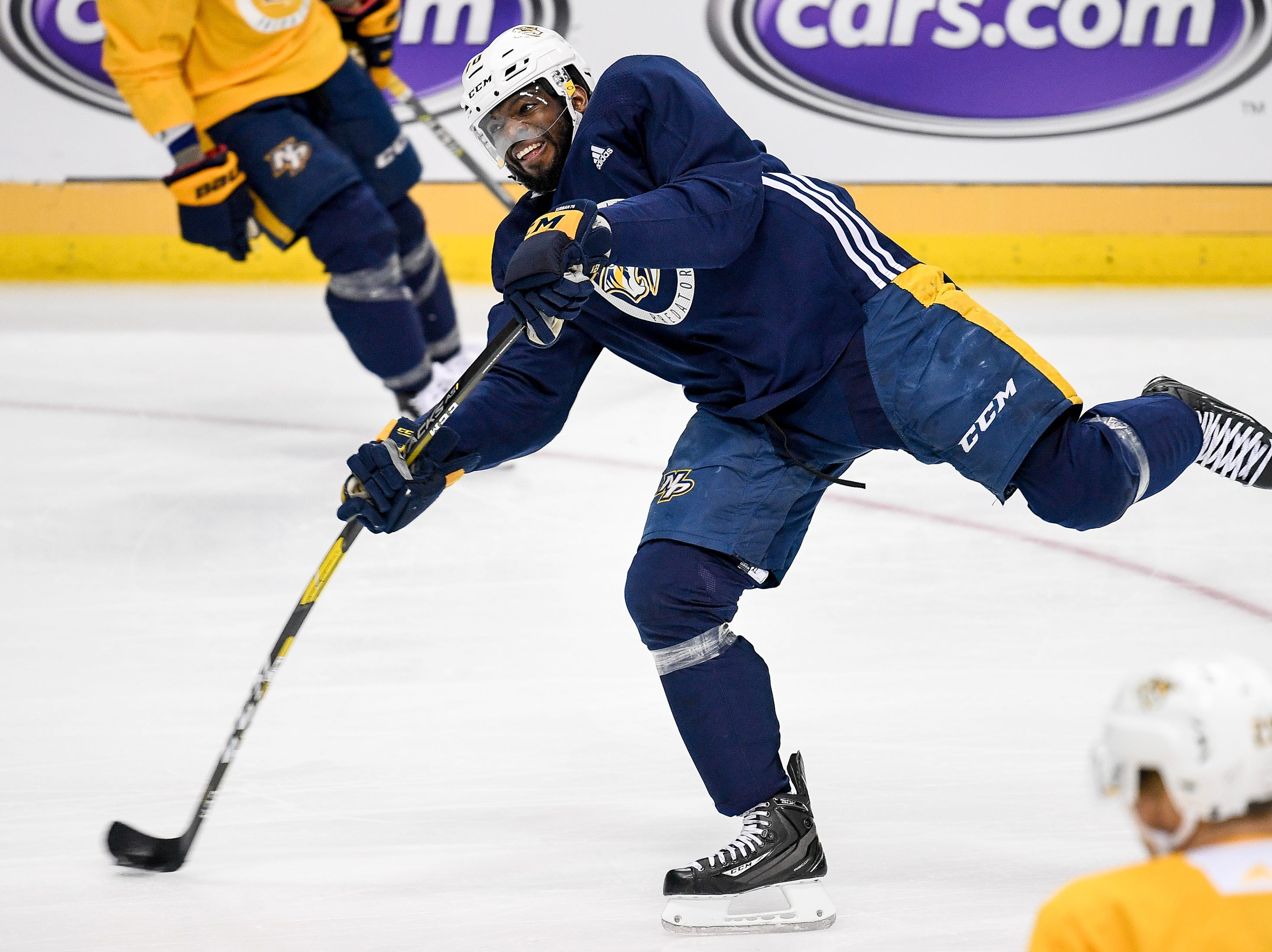 Nashville Predators defenseman P.K. Subban (76) shoots during practice before the divisional semifinal game against the Dallas Stars at the American Airlines Center in Dallas, Texas, Monday, April 22, 2019.