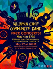 Williamson County Community Band will perform free concerts May 4 and 27.