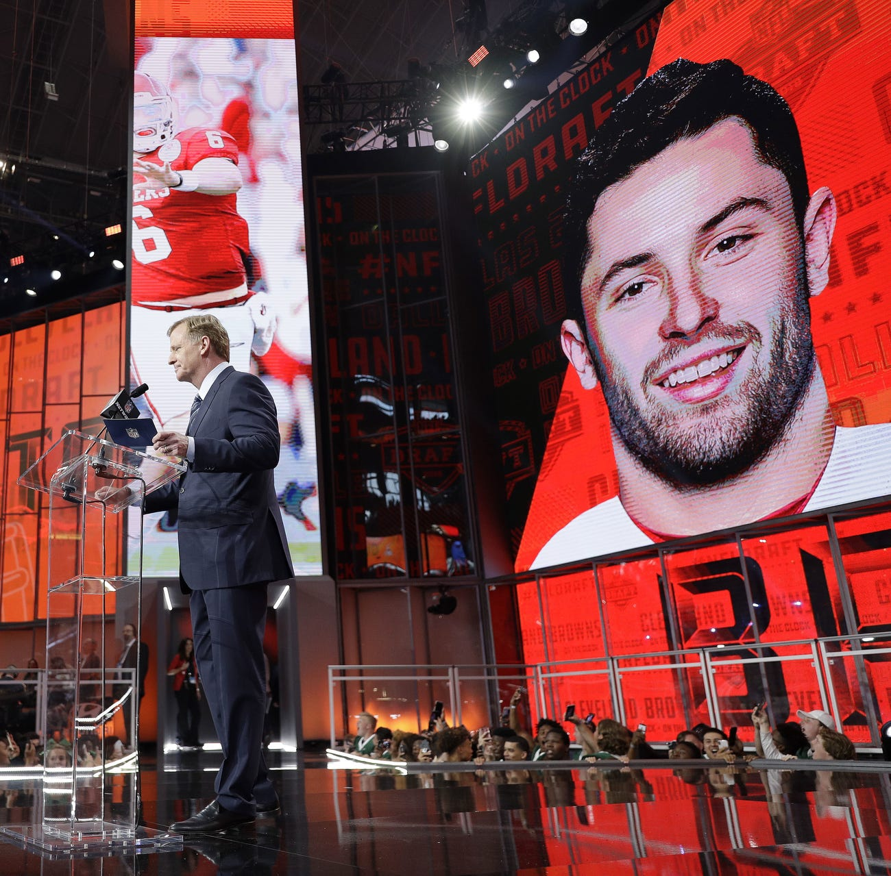 Commissioner Roger Goodell speaks at the podium after the Cleveland Browns selected Oklahoma's Baker Mayfield as their pick during the first round of the NFL football draft April 26, 2018 in Arlington, Texas.
