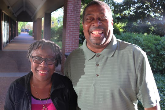 Juanita Patton and Robert Blair attend the anniversary celebration.