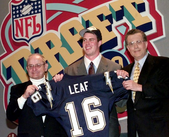 Ryan Leaf, center, of Washington State was the No. 2 overall pick by the Chargers in the 1998 NFL Draft.