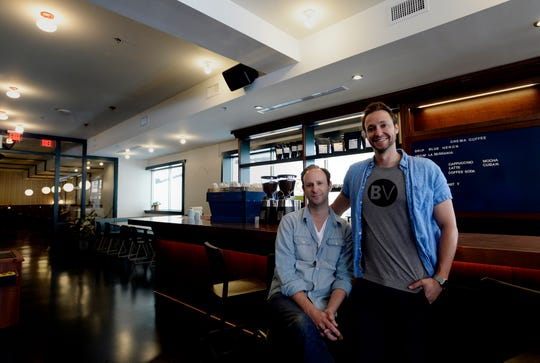 Nashville restaurateurs Ben, left, and Max Goldberg inside their new Downtown Sporting Club on Monday, April 22, 2019 in Nashville, Tenn. The massive Downtown Sporting Club is on Lower Broadway and opening this week before the NFL Draft. It will include a restaurant, coffee shop, boutique lodging and an ax-throwing area.