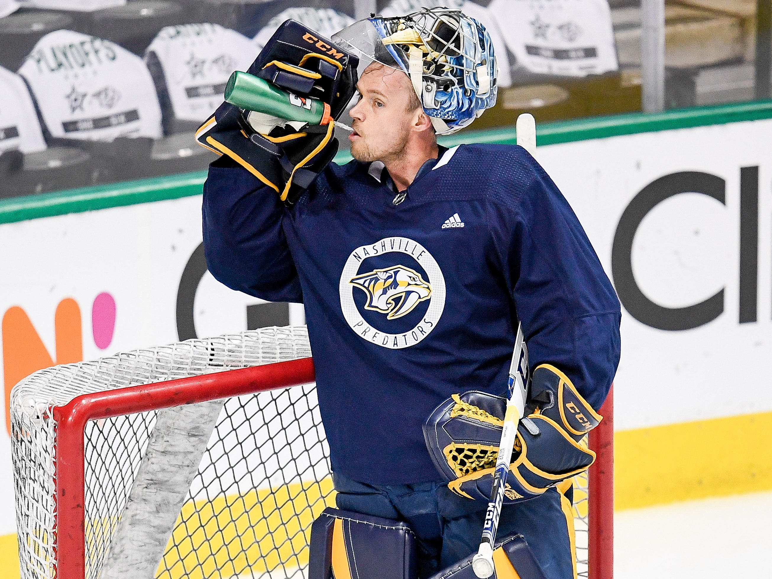 Nashville Predators goaltender Pekka Rinne (35) during practice before the divisional semifinal game against the Dallas Stars at the American Airlines Center in Dallas, Texas, Monday, April 22, 2019.