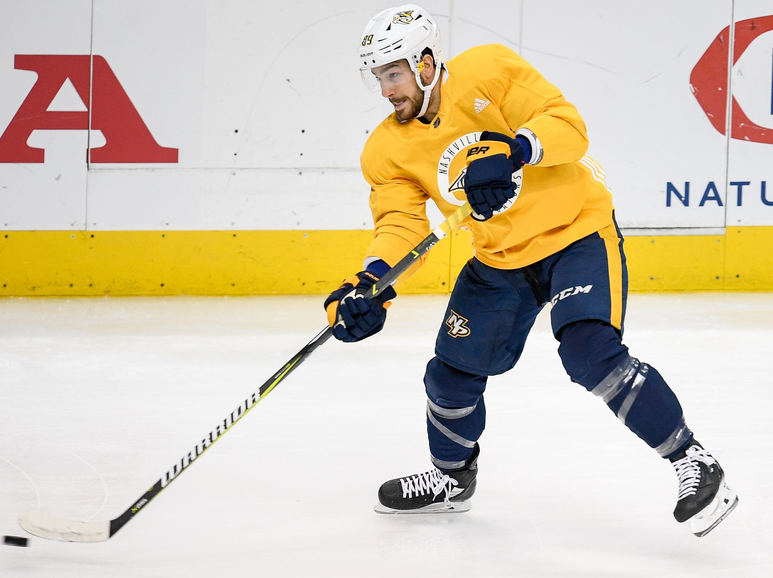 Nashville Predators center Frederick Gaudreau (89) skates during practice before the divisional semifinal game against the Dallas Stars at the American Airlines Center in Dallas, Texas, Monday, April 22, 2019.