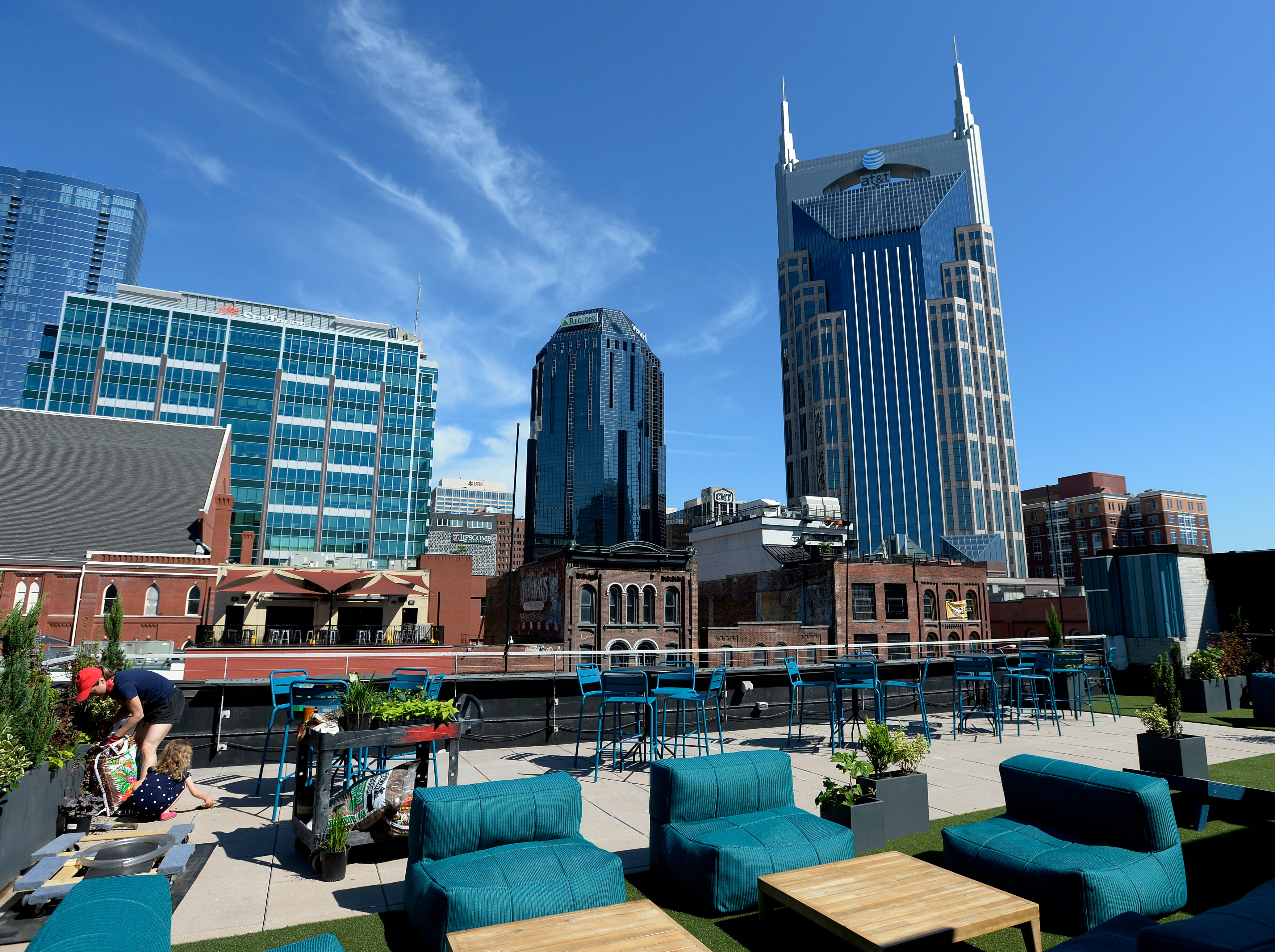 The Downtown Sporting Club roof top and bar area on Monday, April 22, 2019 in Nashville, Tenn. The massive Downtown Sporting Club, owned by Max and Ben Goldberg, is on Lower Broadway and opening this week before the NFL Draft. It will include a restaurant, coffee shop, boutique lodging and an ax throwing area.