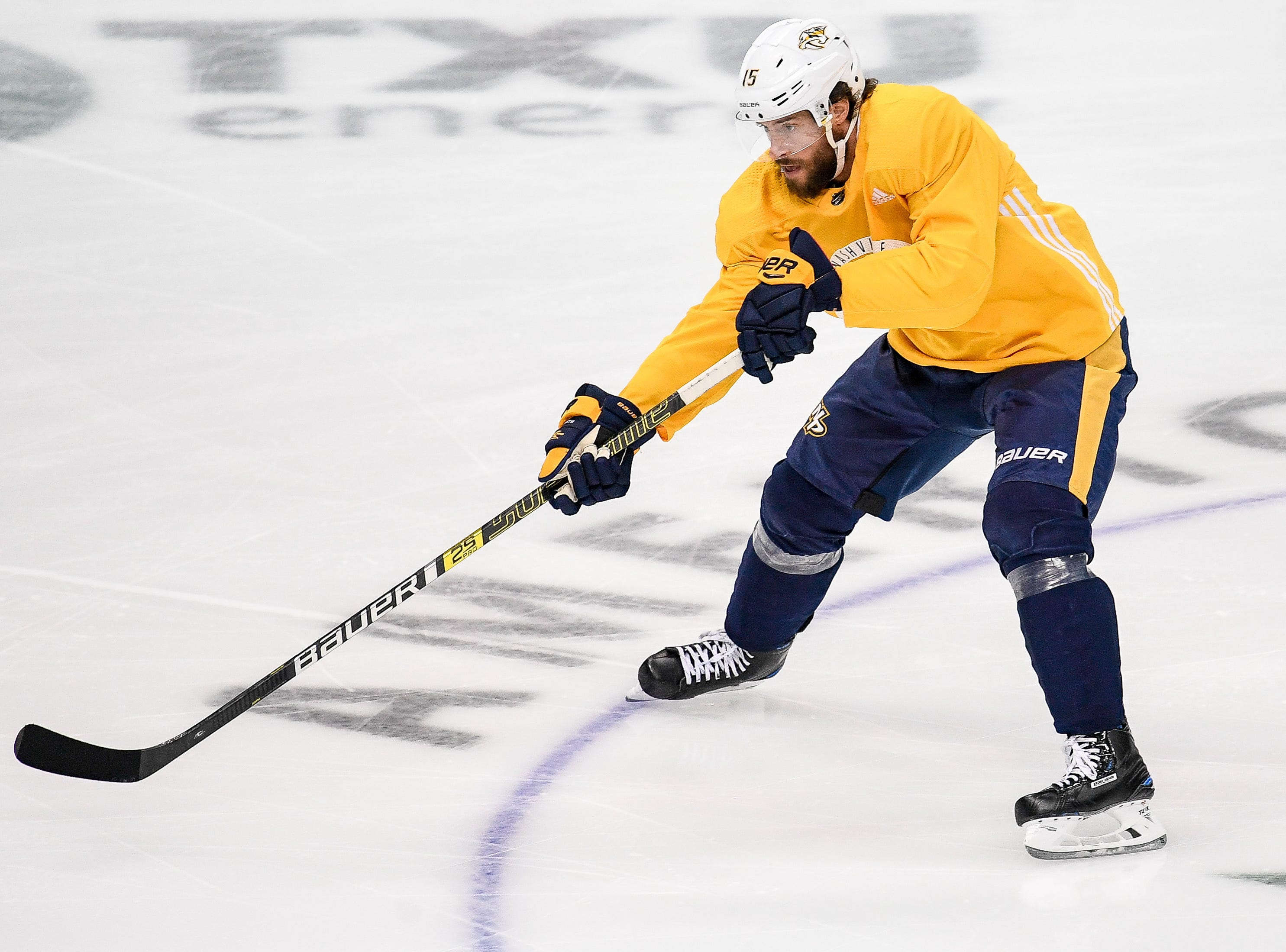 Nashville Predators right wing Craig Smith (15) skates during practice before the divisional semifinal game against the Dallas Stars at the American Airlines Center in Dallas, Texas, Monday, April 22, 2019.