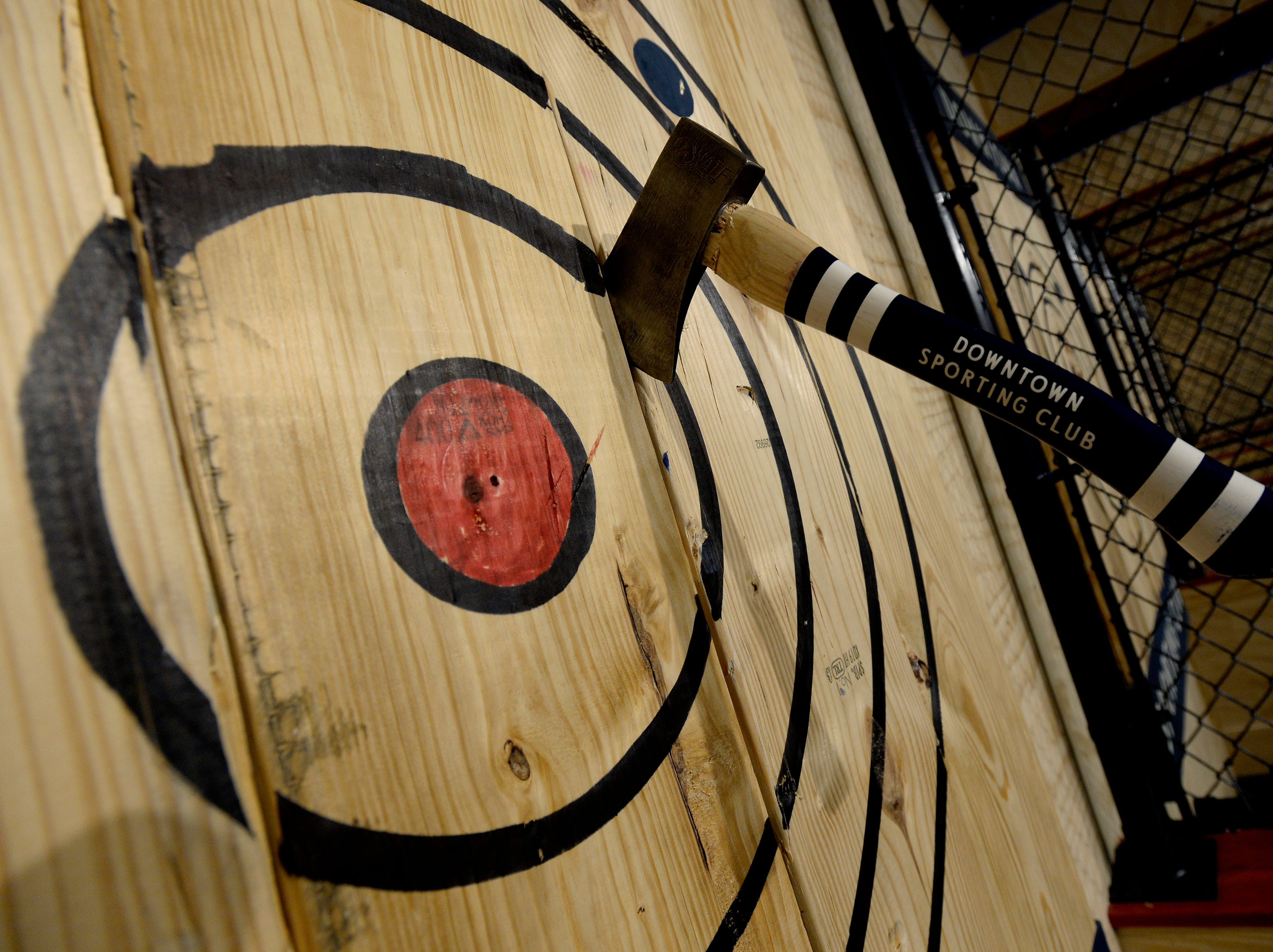 The ax-throwing area will be available for customers at the new Downtown Sporting Club on Monday, April 22, 2019 in Nashville, Tenn. The massive Downtown Sporting Club is on Lower Broadway and opening this week before the NFL Draft. It will include a restaurant, coffee shop, boutique lodging and an ax-throwing area.
