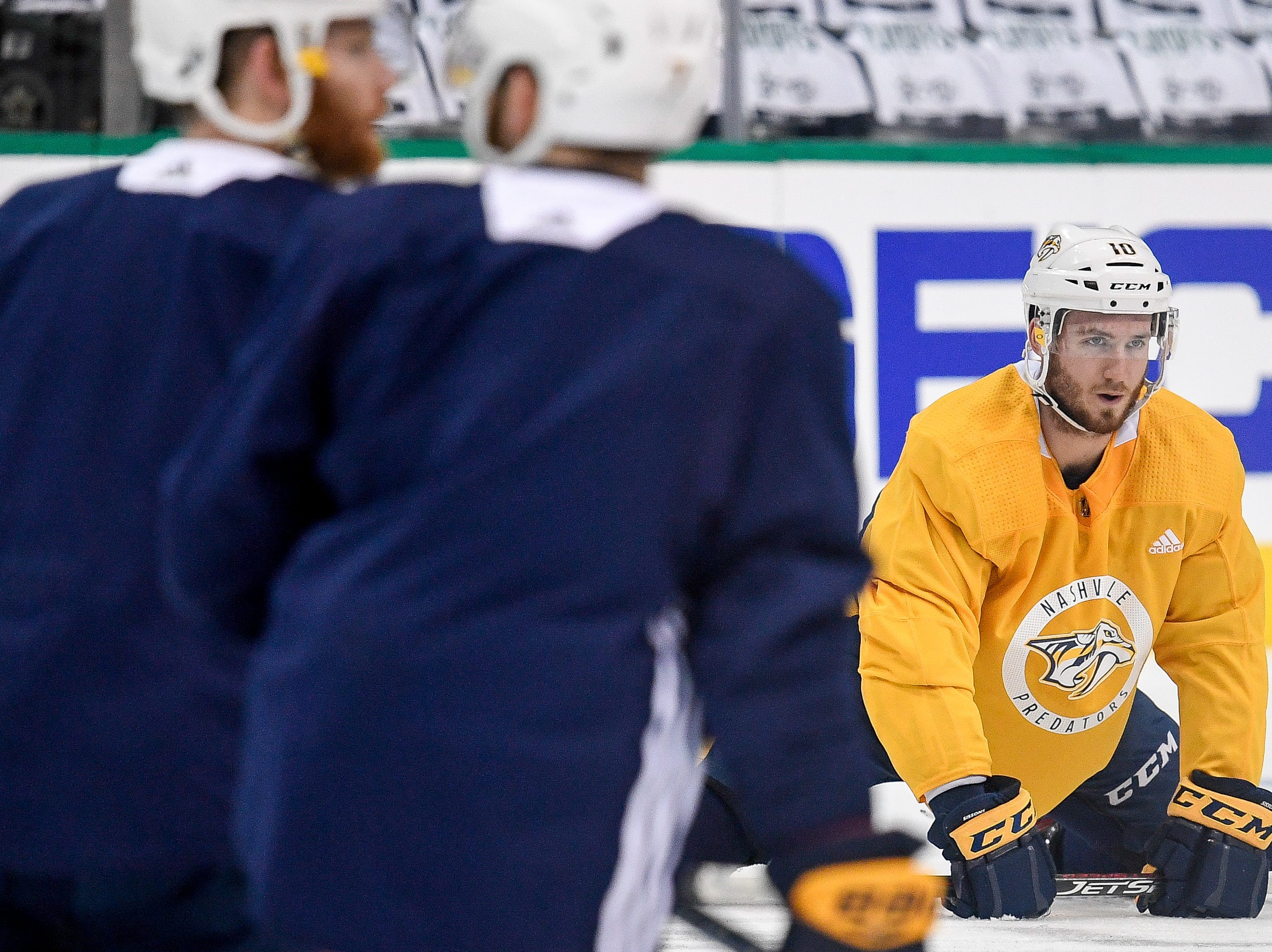 Nashville Predators center Colton Sissons (10) warms up during practice before the divisional semifinal game against the Dallas Stars at the American Airlines Center in Dallas, Texas, Monday, April 22, 2019.