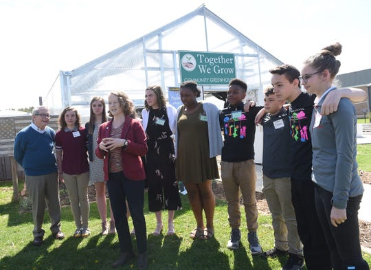 Ohio EPA Director Laurie Stevenson (center) introduces the Encouraging Environmental Excellence in Education, or E4, program during a visit with Governor Mike DeWine to Heritage Middle School in Newark for Earth Day. The Newark City School was recognized for the students commitment to environmental stewardship and curriculum.
