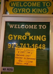 An employment sign asking only men to apply was taken down April 22, 2019 at NY Gyro King in Bloomfield.