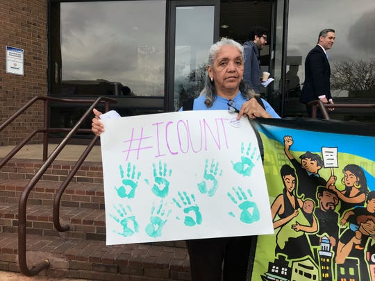 Ana Labarces, of Elizabeth, a member of Make the Road New Jersey holds a sign at a press conference in Passaic held on April 22, 2019  about the U.S. Census and whether citizenship question will be included in the 2020 census, which will be decided by the U.S. Supreme Court.